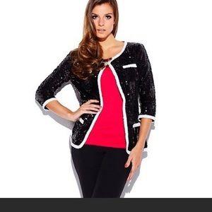Iman size medium sequin white trim jacket blazer